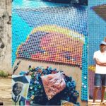 UNIBEN Student Uses Over 6000 Bottle Covers To Make A Portrait Of His Vice Chancellor